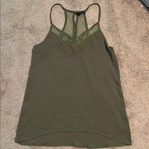 Ro & De Green Satin Tank Top, Size XS (Fits M)